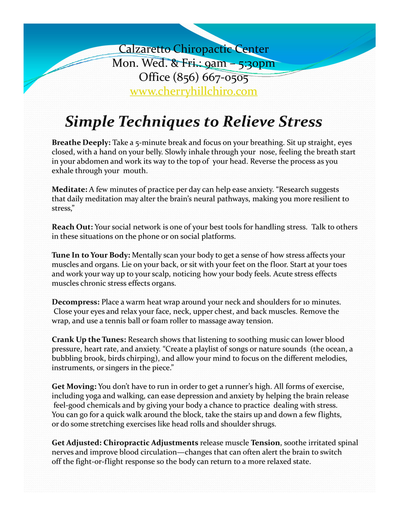 Simple Techniques To Relieve Stress in Cherry Hill NJ